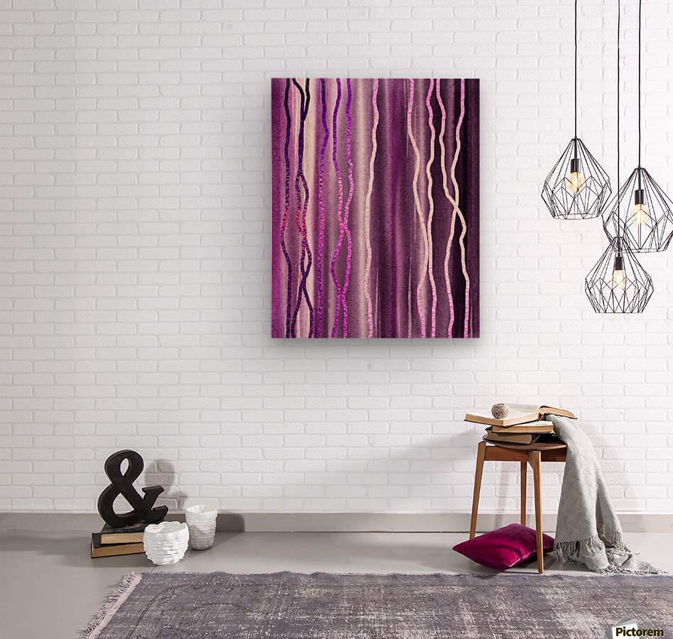 Organic Lines Purple Abstract  Wood print