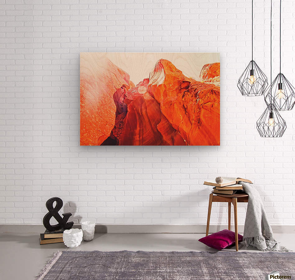 texture of the orange rock and stone at Antelope Canyon, USA  Wood print