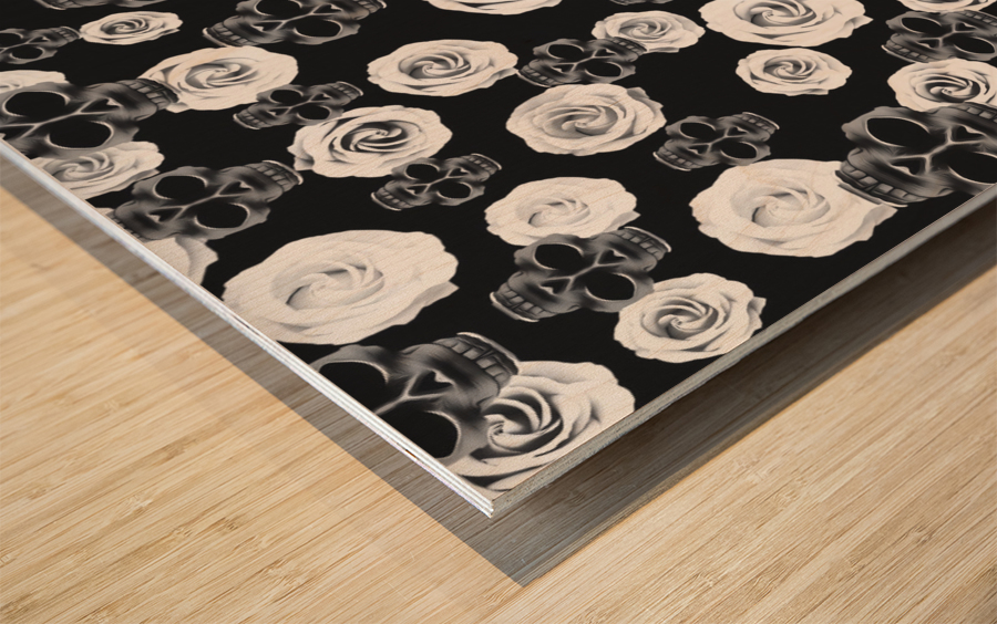 vintage skull and rose abstract pattern in black and white Wood print