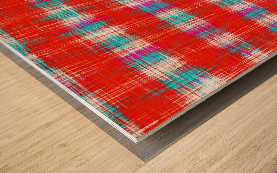 plaid pattern abstract texture in in red blue pink Wood print