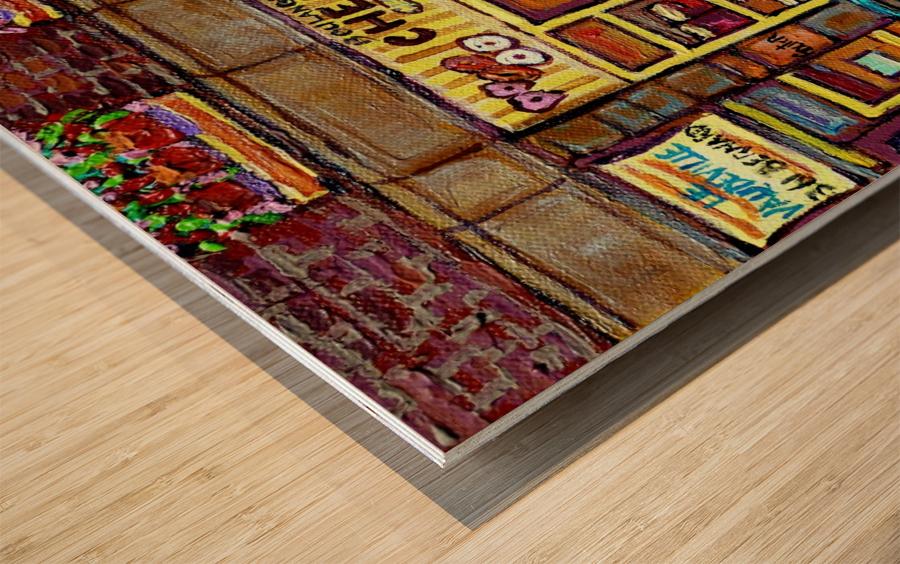 CHESKIES BAKERY RUE BERNARD MONTREAL STREET SCENE Wood print