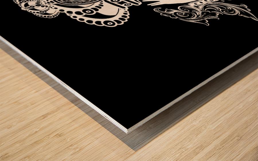 monogram crown  4 black Wood print