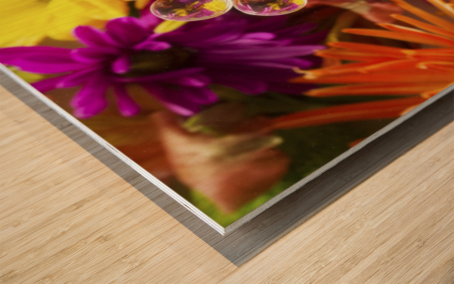 FLOWERS REFRACTION 9 Wood print