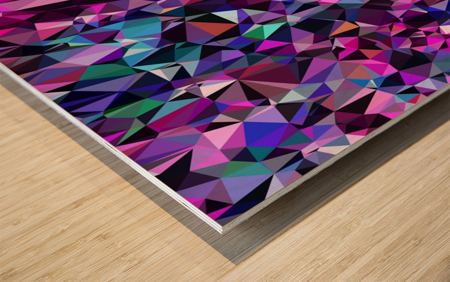 geometric triangle polygon pattern abstract in pink blue black Wood print