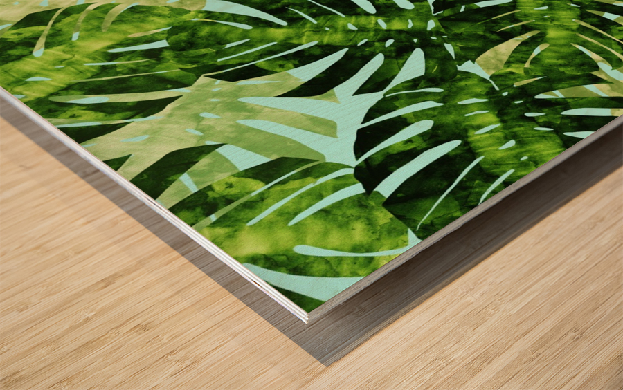 Watercolor leaves tropical I Wood print