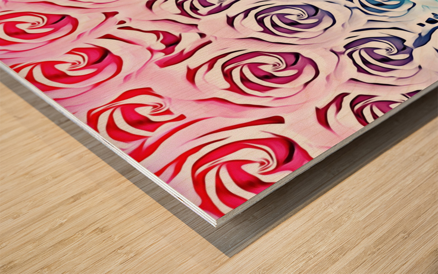 blooming rose pattern texture abstract background in pink and blue Wood print