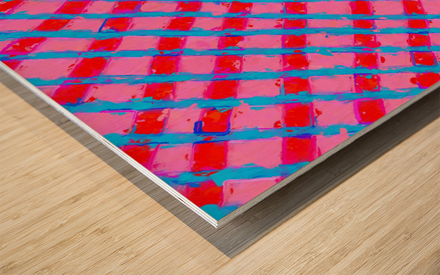 line pattern painting abstract background in pink red blue Impression sur bois