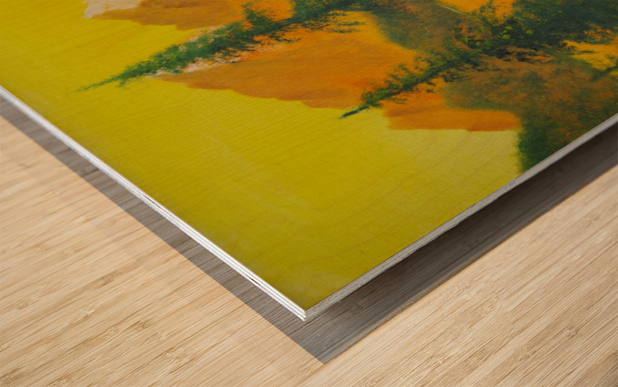 Yellow sky- snow capped mountains. Wood print