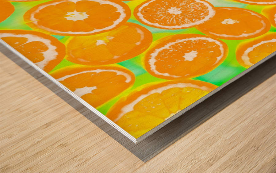 juicy orange pattern abstract with yellow and green background Wood print