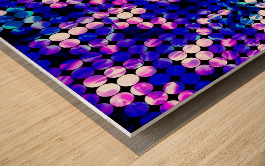 circle pattern abstract background with splash painting abstract in blue and pink Wood print