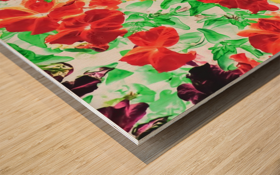 red flower and yellow flower with green leaf abstract background Wood print