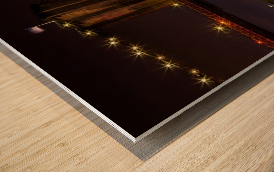 MANHATTAN SKYLINE & BROOKLYN BRIDGE Idyllic Nightscape | Panoramic  Wood print