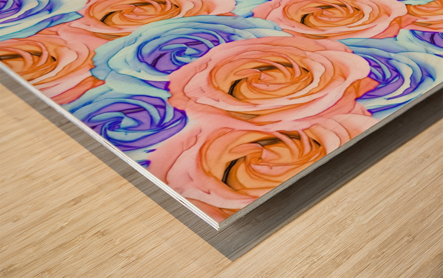 blooming rose texture pattern abstract background in red and blue Wood print