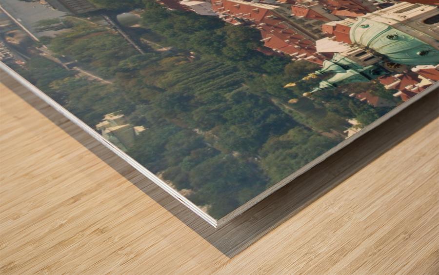 Looking Down on Prague Wood print