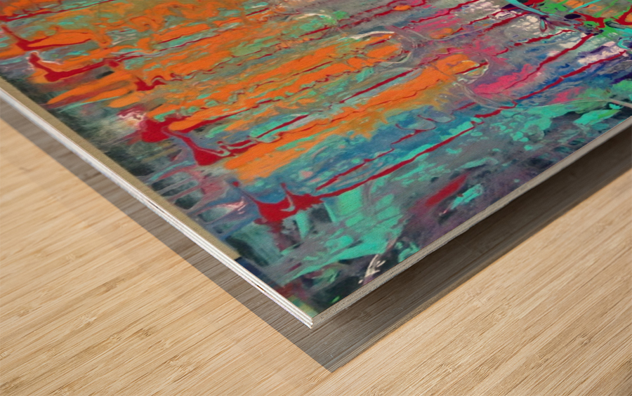 Three Ring Circus a Colorful Abstract Painting Wood print