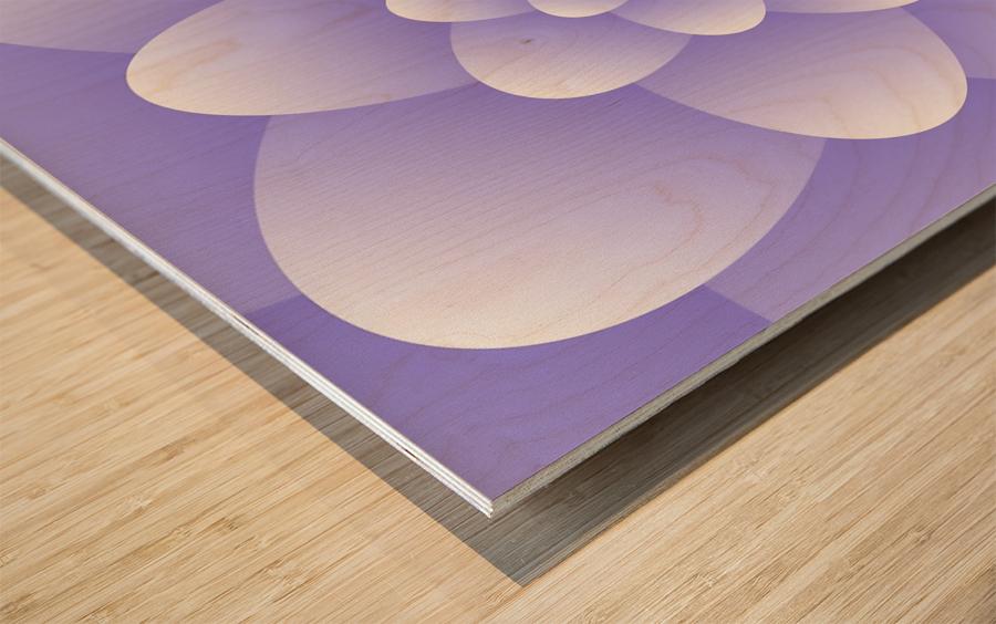 Purple Floral Spiral Artwork Wood print