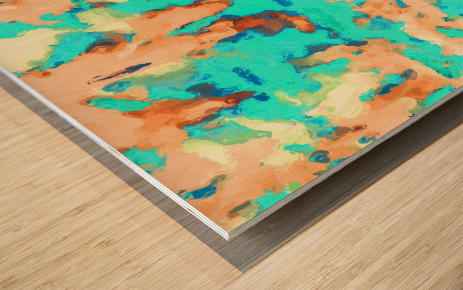 splash painting texture abstract background in blue and orange Wood print