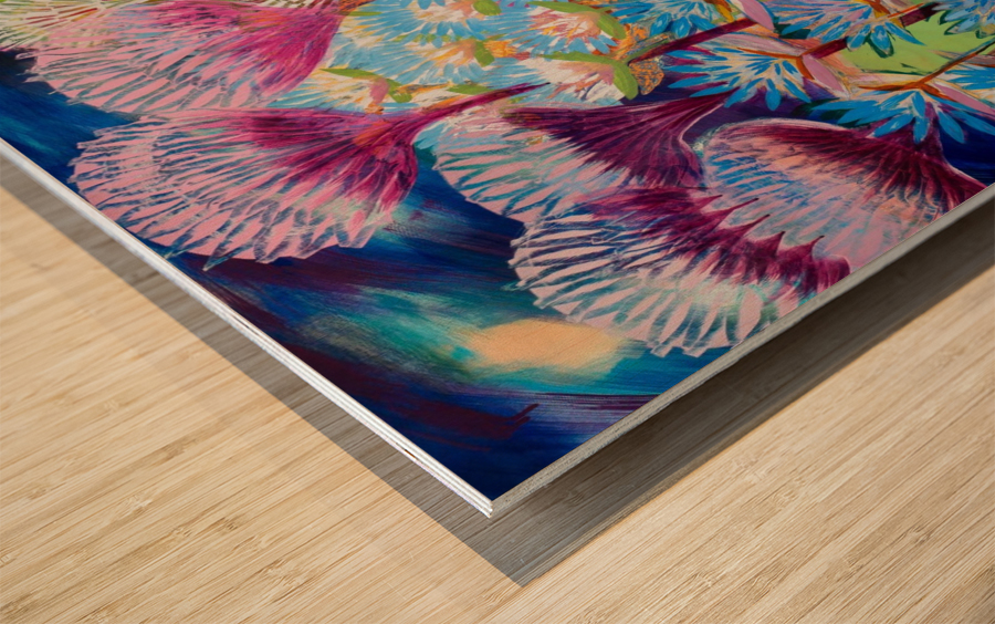 Levity Blooms Wood print