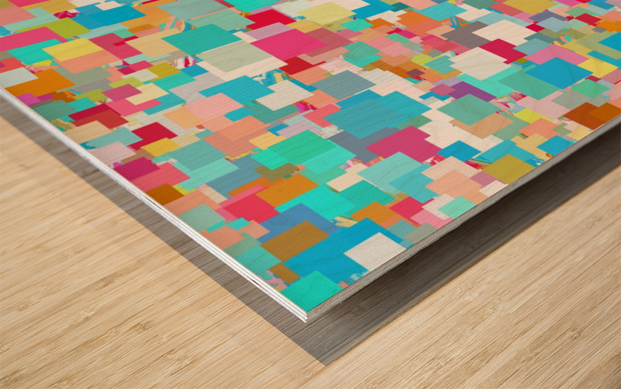 geometric square pixel pattern abstract background in blue pink orange green Wood print