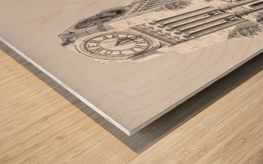 B&W Tower Theatre Clock - DTLA Wood print