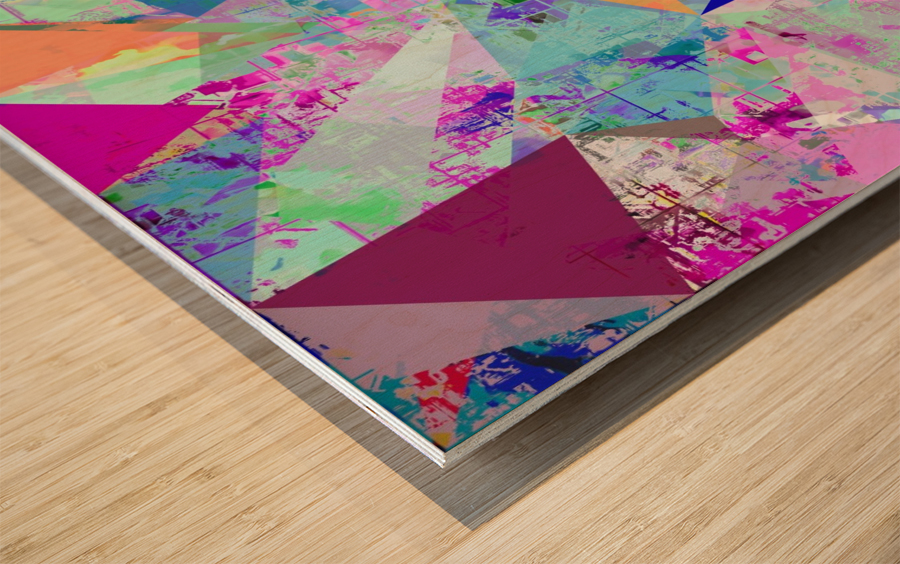 vintage psychedelic triangle polygon pattern abstract in blue pink green yellow Wood print