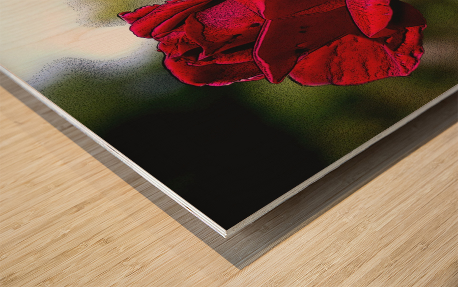 Posterized Rose  Wood print