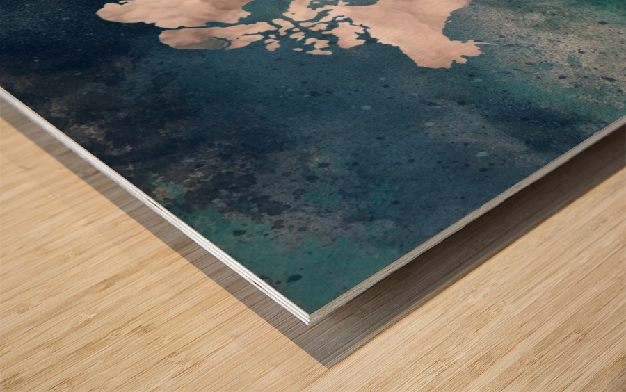 Map Green Wood print