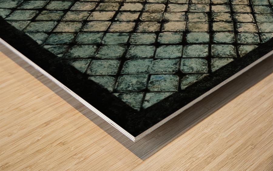 Les bleus vitraux -  Contemporary Art Impression sur bois