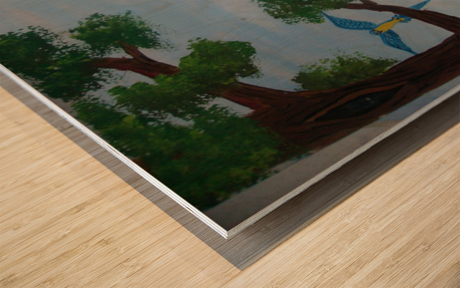 Macaw family Wood print