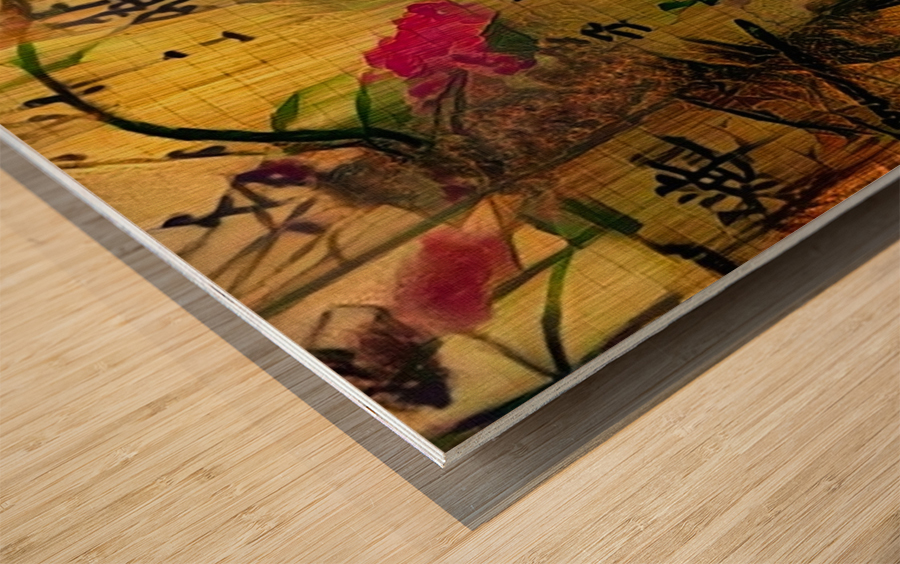 Oriental Painting. Japanese Style Wood print