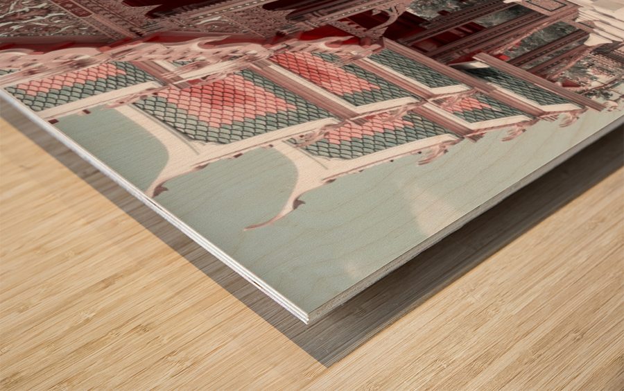 Buddhist Monk Pink&Mint Wood print