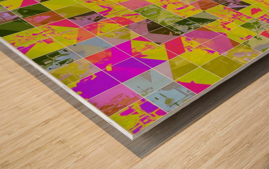 geometric square pattern abstract in yellow green pink Wood print