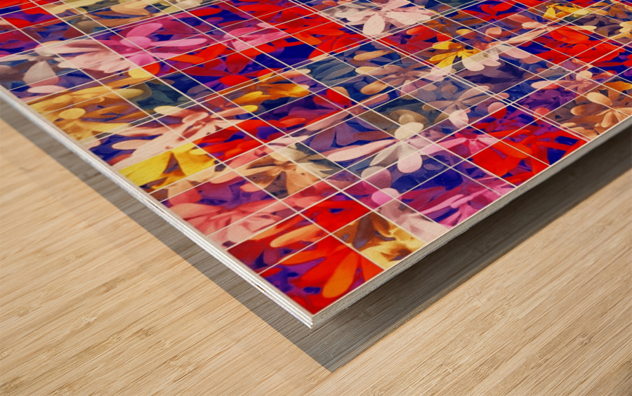 blooming flower with square pattern abstract in red and blue Wood print