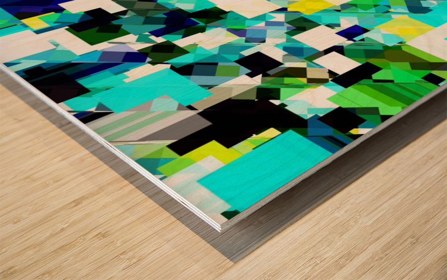 geometric square pixel pattern abstract in blue and yellow Wood print