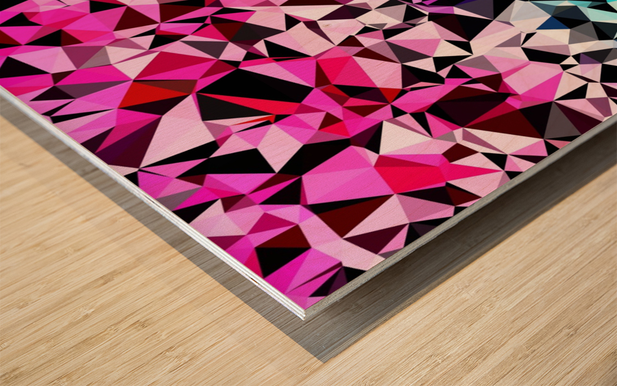 geometric triangle pattern abstract in pink blue black Wood print