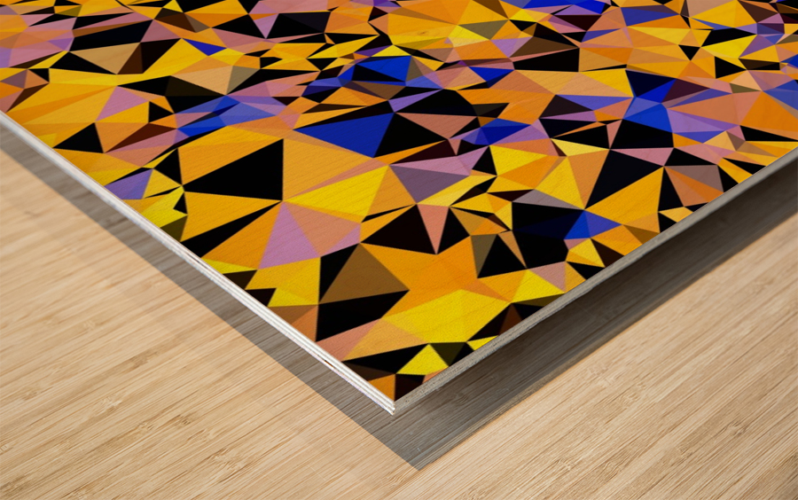 geometric triangle pattern abstract in orange blue yellow Wood print