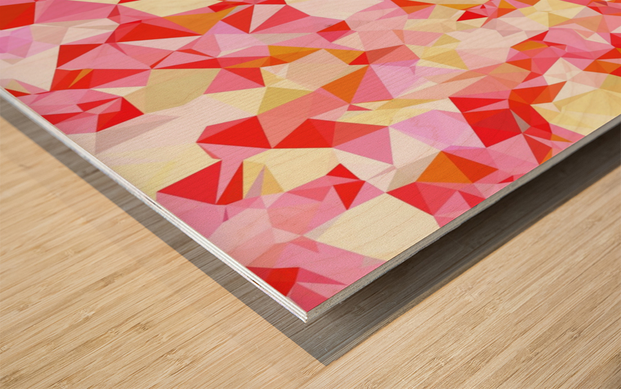 geometric triangle pattern abstract in pink red orange Wood print