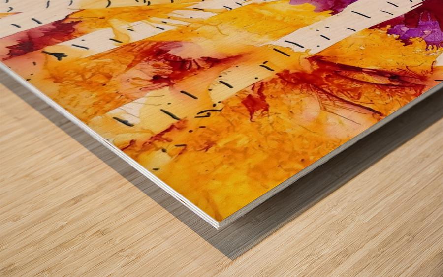 Twilight Aspens Wood print
