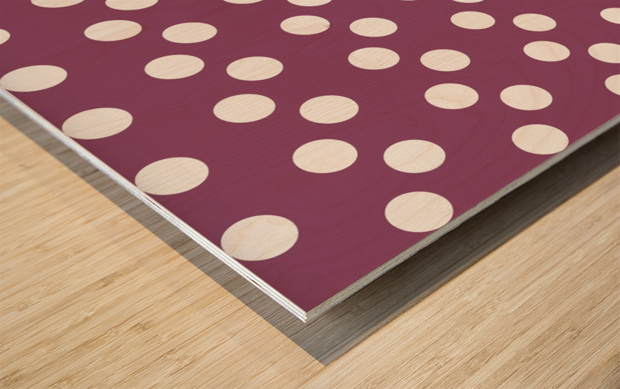 BURGUNDY Polka Dots Wood print