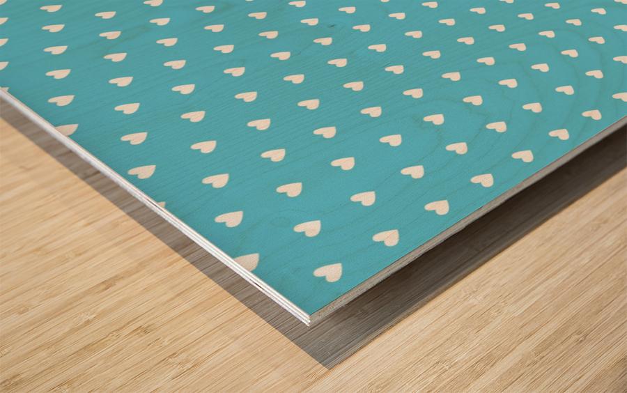 AQUA Heart Shape Pattern Wood print