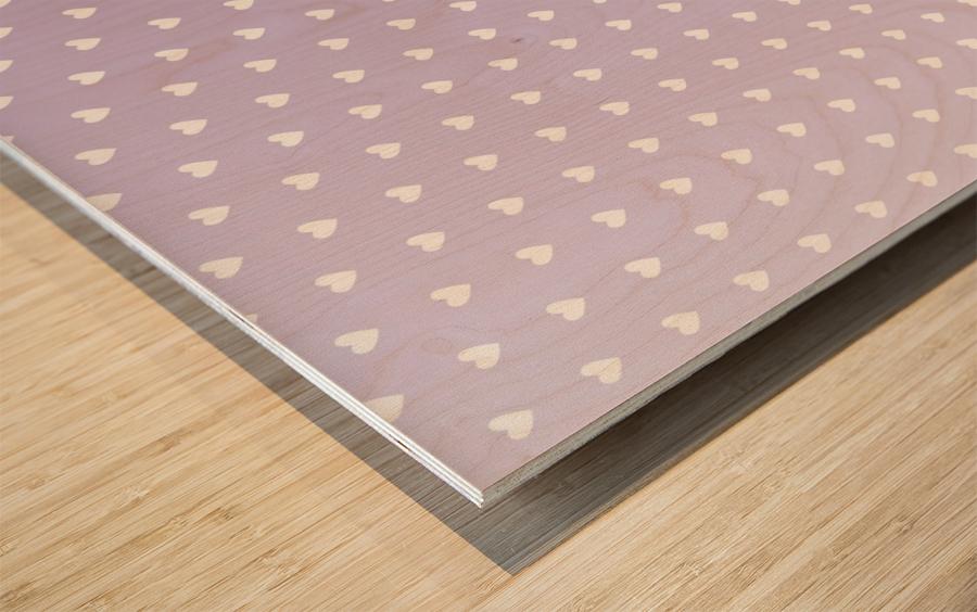 Spring Purple Heart Shape Pattern Wood print