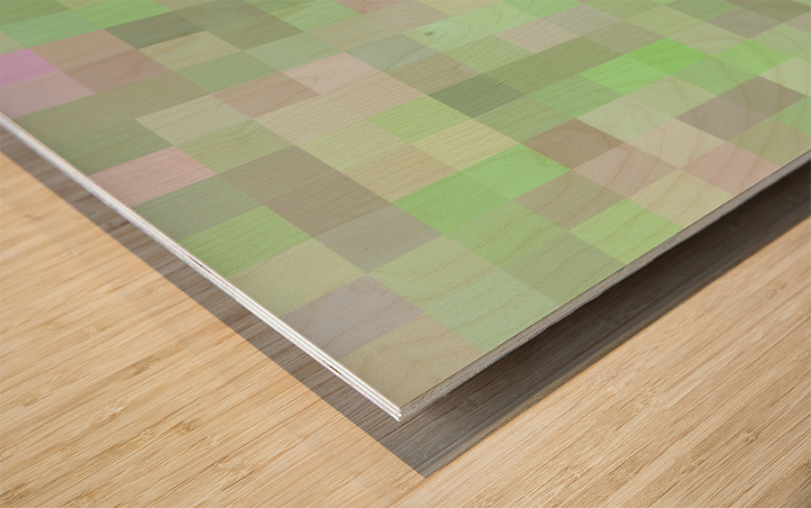 geometric square pixel pattern abstract in green and pink Wood print