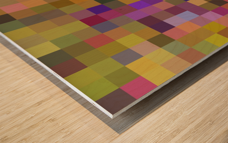 geometric square pixel pattern abstract in yellow green purple Wood print