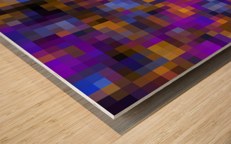geometric square pixel pattern abstract background in blue purple yellow Wood print