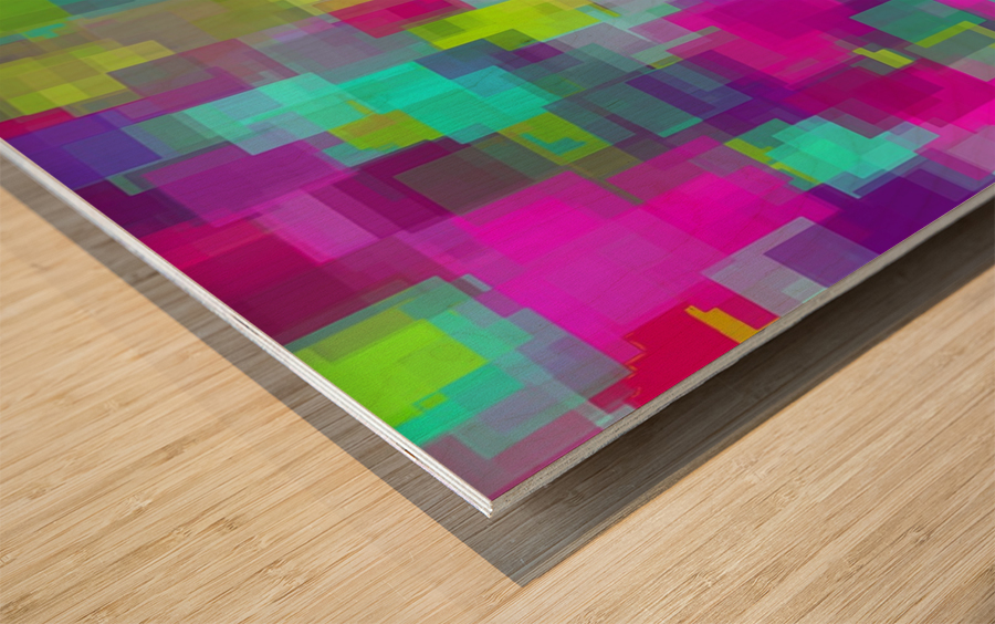 geometric square pattern abstract background in pink yellow blue Wood print
