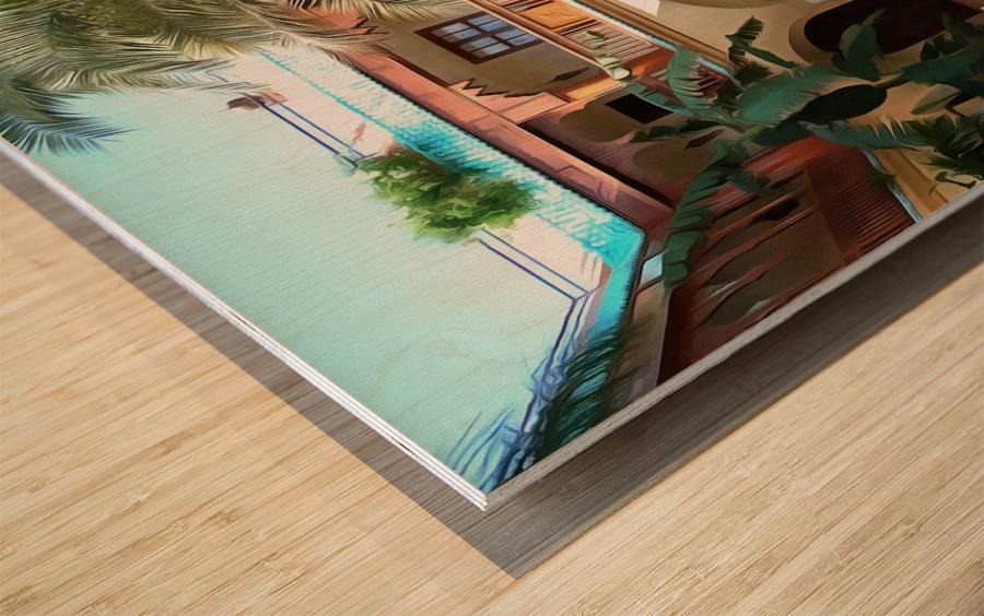 Riad Pool View Marrakesh Wood print