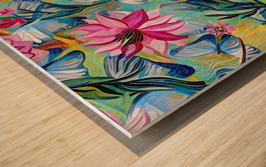 Colorful Floral Abstract  Wood print