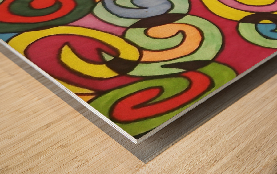Bright Colorful Curves Wood print