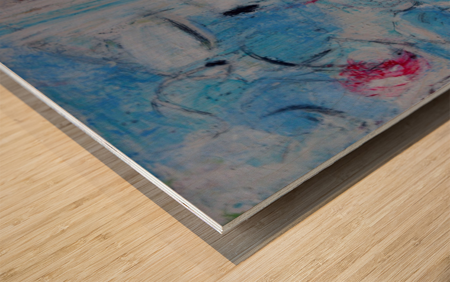 twombly blue Wood print