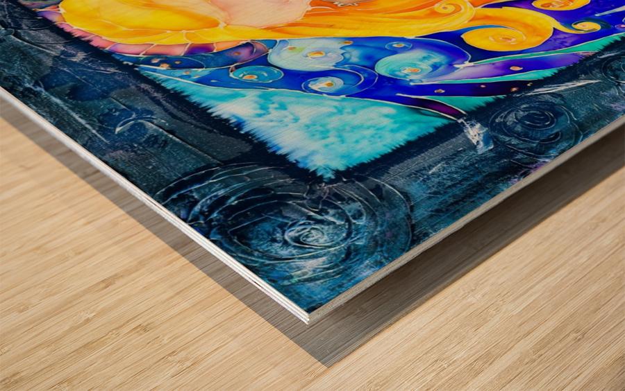 Held full frame Wood print